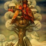 A couple of bird-people in the tree. Surreal painting by Boris Shapiro, Israel