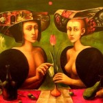 Two ladies with a tulip. 17th century people in beautiful portraits of Boris Shapiro, Israel