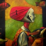 Lady with birds. Beautiful painting by Boris Shapiro, Israel