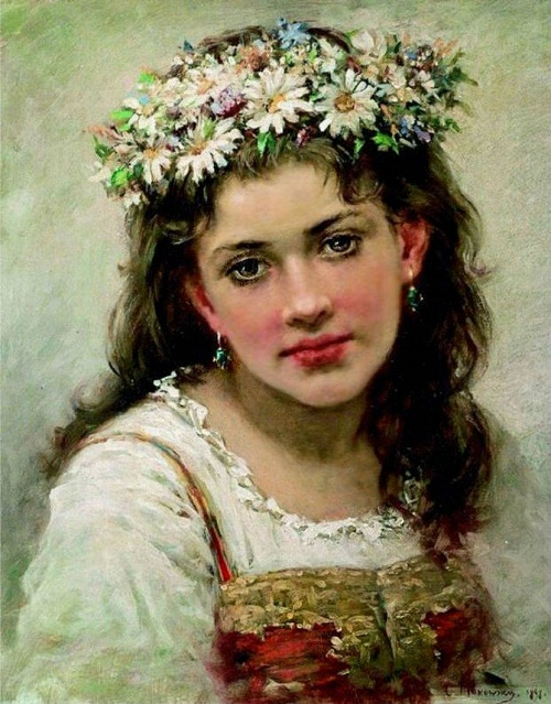 Beautiful female portraits by Konstantin Makovsky