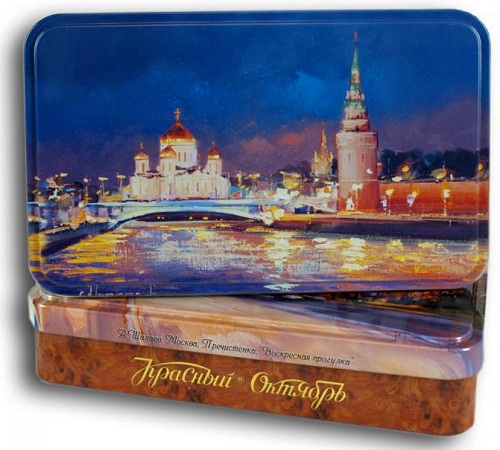 Paintings on boxes of chocolate by Alexei Shalaev