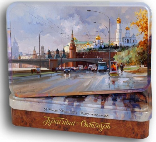 Paintings on boxes of chocolate by Russian artist Alexei Shalaev