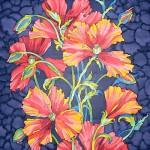 Panel painting 'poppies night'
