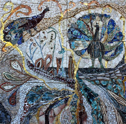 Peacocks. Stone mosaic by Yugoslavian born artist Ilana Shafir