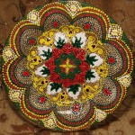Point-to-point stained glass painting on Decorative plates by Moscow artist Tatyana Zinkovskaya