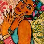 Beautiful Girl. Stained glass painting on Decorative plates by Moscow based artist Tatyana Zinkovskaya