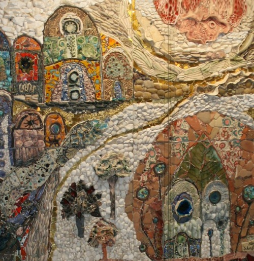 Temples libby hintz. Stone mosaic by Yugoslavian born artist Ilana Shafir