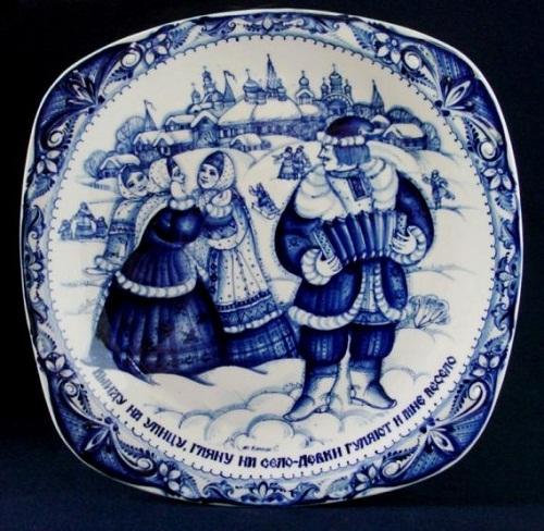 The Dish 'Flirting'. Gzhel ceramics
