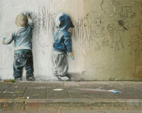 This hyperrealistic 3D painting is a real piece of art from Banksy, recognized as one of the best wall murals of 2010.