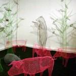 Pigs. Transparent 3D sculpture by Italian artist Benedetta Mori Ubaldini