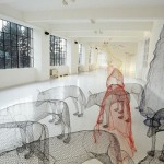 Wolves in the forest. Transparent 3D sculpture by Italian artist Benedetta Mori Ubaldini