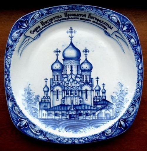 Wall plate 'Cathedral'. Gzhel ceramics