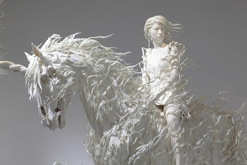 Odani Motohiko sculptures. Seeing a white horse in a dream is said to be presentiment of death.