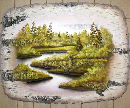 Paintings on bark by Sergey Surin