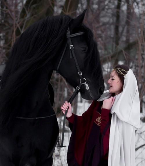 Woman and horse in photography by Irina Bondarkova