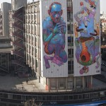 large scale street art from Aryz, Spanish graffiti and street artist from Barcelona