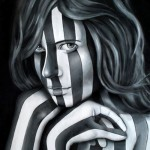 Stripes. Portrait of a girl