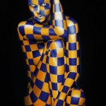 Blue and yellow checkered. Colorful painting by Italian artist Danilo Martinis