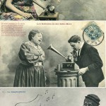 vintage postcards featuring graphophones, adored by everyone from policeman to nurse
