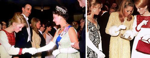 Catherine Deneuve, during a visit to Queen Elizabeth II, March 14, 1966