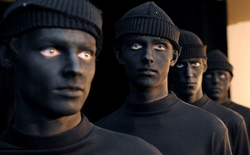 Bizarre. Models seen backstage during the MAN show at the London Collections
