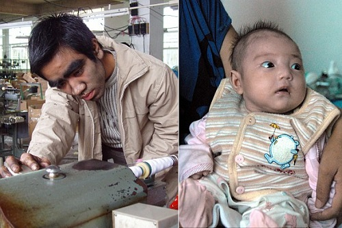 Chen at work in his air conditioning business (left) in 2005. And right the happy couple's first child