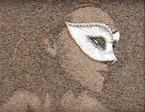 Portrait of woman in Venetian mask. Sand and seashells mosaic art by Svetlana Ivanchenko
