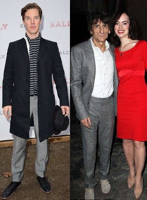 Actor Benedict Cumberbatch attends the 'BALLY Celebrates 60 Years of Conquering Everest' at Bedford Square Gardens on January 7, 2013 in London, England. Right - Ronnie Wood took new wife Sally Humphreys to the Topman show