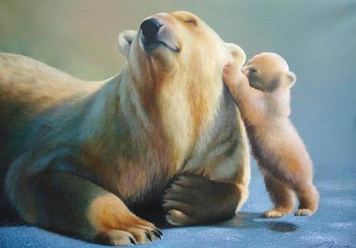 Secret. Painting by Ukrainian artist animalist Evgeny Reva