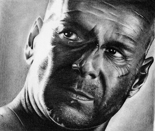 bruce willis. Black and white drawing by American artist Shone Chacko