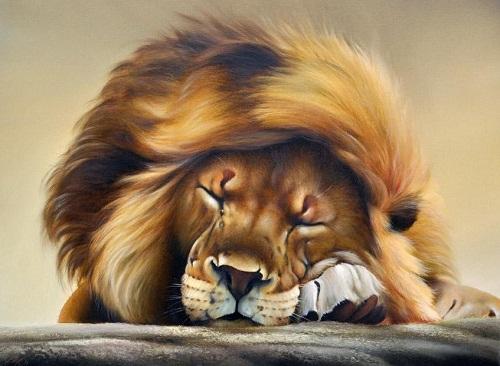 Dream of a king. Painting by Ukrainian artist animalist Evgeny Reva