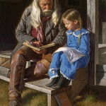 A man reading a book for a girl. Painting Native Americans in paintings by Mexican artist Alfredo Rodriguez