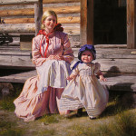 Frontier people – first European settlers in America. Paintings by Mexican artist Alfredo Rodriguez