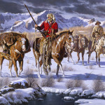 Winter landscape. Riding horses first settlers. Painting by Mexican artist Alfredo Rodriguez