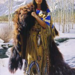 Native American woman holding fur skins of killed animals. Painting by artist Alfredo Rodriguez
