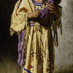 A Native American girl with a doll. Painting by Mexican artist Alfredo Rodriguez