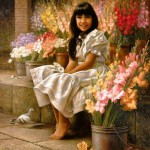 Smiling girl sitting among flowers. Painting by Mexican artist Alfredo Rodriguez