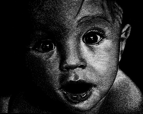 surprised. Black and white drawing by American artist Shone Chacko