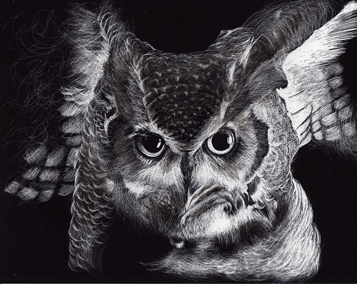 the night guardian. Black and white drawing by American artist Shone Chacko