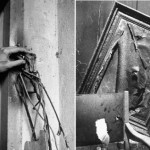 Wreckage, right, inside Adolf Hitler's command bunker and left, hand touching destroyed hinge of door to Adolf Hitler's command bunker, burned off by advancing Russian combat engineers. These photos were not originally published in LIFE magazine