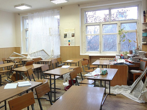 damages caused by meteorite's sonic boom - school class room