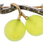 A diamond and paste grape vine brooch
