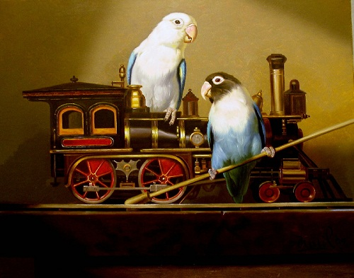 Birds love steam engine. Painting by Kamil Bekshev, Kazakhstan
