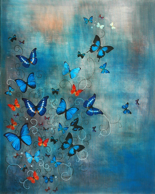 Colorful butterflies by British artist Lily Greenwood