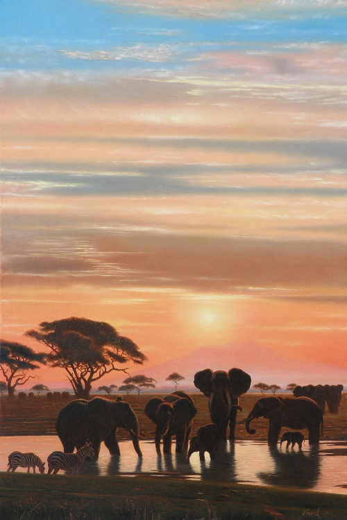 Elephants at the river Zambezi at night. Contemporary artist Kamil Bekshev, Kazakhstan