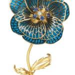 Gold Blue Plique a Jour Enamel Diamond and Sapphire