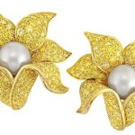 Pair of Gold Yellow Diamond and Cultured Pearl