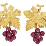 Pair of Gold and Ruby Bead Earclips Gianmaria