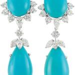 Pair of Platinum White Gold Turquoise and Diamond