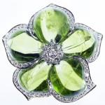 Peridot and diamond flower brooch